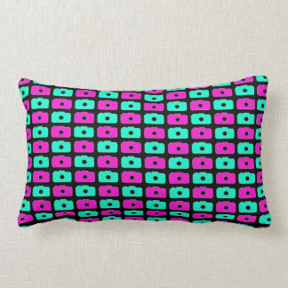 Camera Love (Pink and Blue) Black Pillows