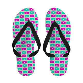 Camera Love (Pink and Green) Flip Flops