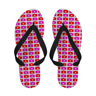 Camera Love (Pink and Red) Flip Flops