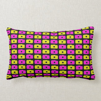 Camera Love (Pink and Yellow) Black Pillow