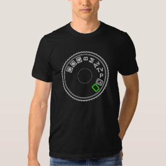 Camera Mode Dial Silver Green Tee Shirt