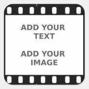 Camera Movie Film Strip Name Tag Photo Frame Square Sticker at Zazzle