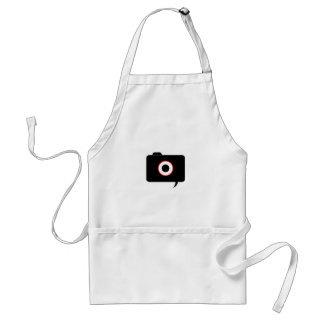 Camera- photography icon with speech bubble adult apron