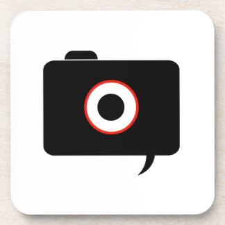 Camera- photography icon with speech bubble beverage coaster