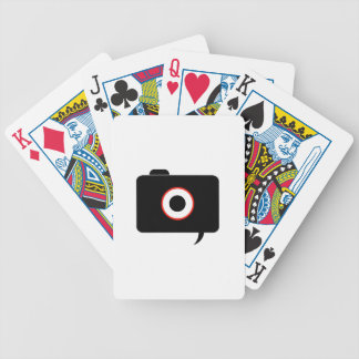 Camera- photography icon with speech bubble bicycle playing cards