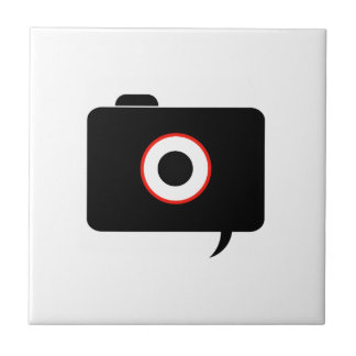Camera- photography icon with speech bubble ceramic tile