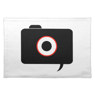 Camera- photography icon with speech bubble cloth placemat