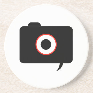 Camera- photography icon with speech bubble drink coaster