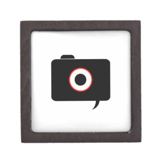 Camera- photography icon with speech bubble gift box