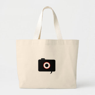 Camera- photography icon with speech bubble large tote bag
