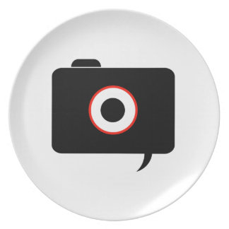 Camera- photography icon with speech bubble melamine plate