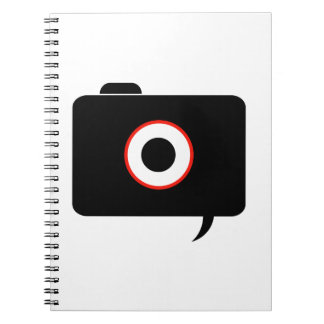 Camera- photography icon with speech bubble notebook
