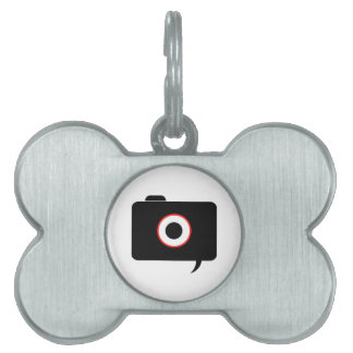 Camera- photography icon with speech bubble pet tag