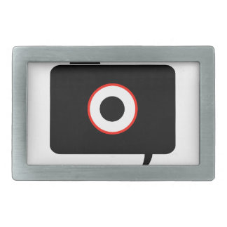 Camera- photography icon with speech bubble rectangular belt buckle
