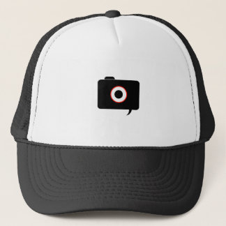 Camera- photography icon with speech bubble trucker hat