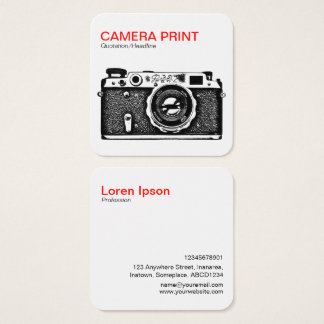 Camera Print - Red + Black on White Square Business Card