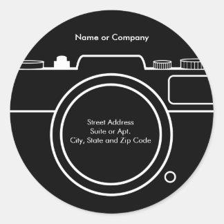 Camera Return Address Label - Black & White Classic Round Sticker