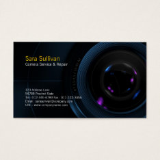Camera Service & Repair Business Card Camera Lens at Zazzle