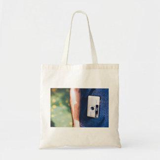 Camera Themed, A Man Carrying Pocket Camera By Han Budget Tote Bag