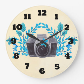 Camera With Azure Blue Leaves And Butterflies Large Clock