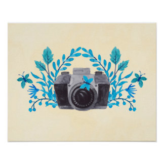 Camera With Azure Blue Leaves And Butterflies Poster