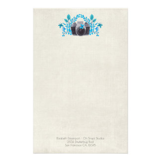 Camera With Azure Blue Leaves And Butterflies Stationery