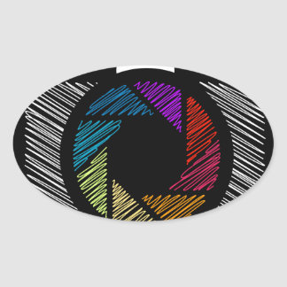 Camera with colorful aperture oval sticker