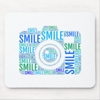 Camera word art, text design smile mouse pad