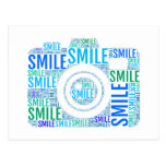 Camera word art, text design smile postcard