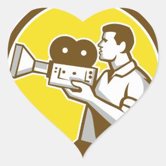 Cameraman Cradling Vintage Movie Camera Circle Ret Heart Sticker