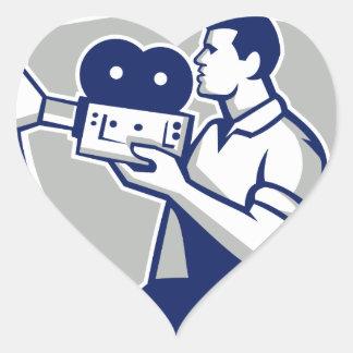 Cameraman Cradling Vintage Movie Camera Crest Retr Heart Sticker