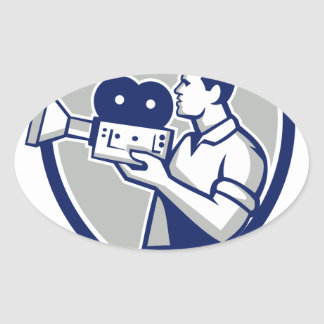 Cameraman Cradling Vintage Movie Camera Crest Retr Oval Sticker