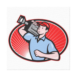 Cameraman Film Crew Carry Camera Stretched Canvas Print