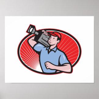 Cameraman Film Crew Carry Camera Posters