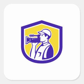 Cameraman Film Crew HD Camera Video Side Retro Square Sticker