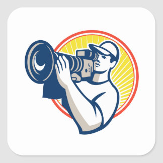 Cameraman Film Crew HD Video Camera Square Stickers