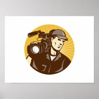 Cameraman Film Crew Pro Video Movie Camera Print