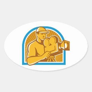 Cameraman Film Crew Vintage Movie Camera Retro Oval Sticker