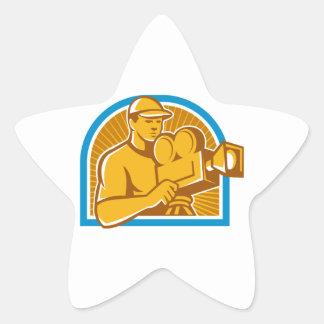 Cameraman Film Crew Vintage Movie Camera Retro Star Sticker