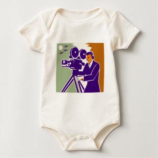 Cameraman Film Crew Vintage Video Movie Camera Baby Creeper