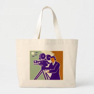 Cameraman Film Crew Vintage Video Movie Camera Tote Bags
