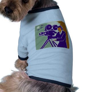 Cameraman Film Crew Vintage Video Movie Camera Doggie Shirt