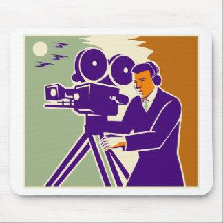 Cameraman Film Crew Vintage Video Movie Camera Mouse Mats