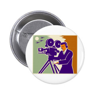 Cameraman Film Crew Vintage Video Movie Camera Pinback Button