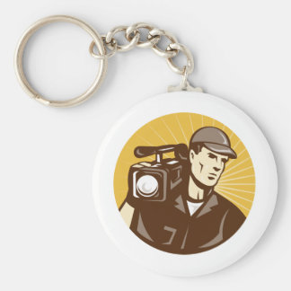 cameraman film crew with video movie camera keychain