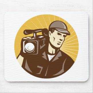 cameraman film crew with video movie camera mousepads