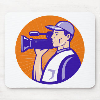 cameraman film crew with video movie camera mouse pads