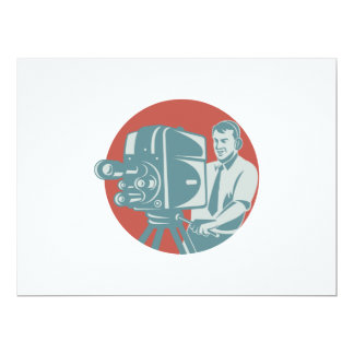 Cameraman Filming With Vintage TV Camera 6.5x8.75 Paper Invitation Card