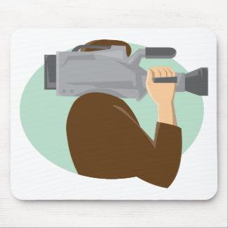 cameraman movie video camera side retro mouse mats