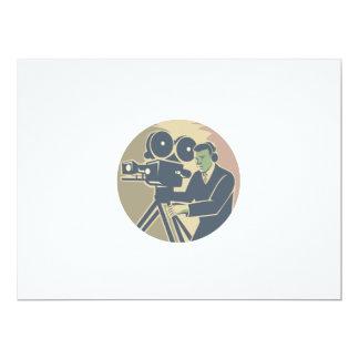 Cameraman Moviemaker Vintage Camera Retro 6.5x8.75 Paper Invitation Card